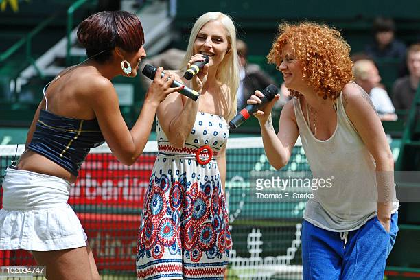 'No Angels' singers Jessica Sandy and Lucy perform during the Gerry Weber Open at the Gerry Weber stadium on June 13 2010 in Halle Germany