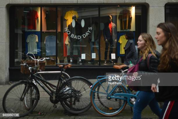 'No Bad Days' sign seen on a shop window in Dublin's City Center On Friday April 13 in Dublin Ireland
