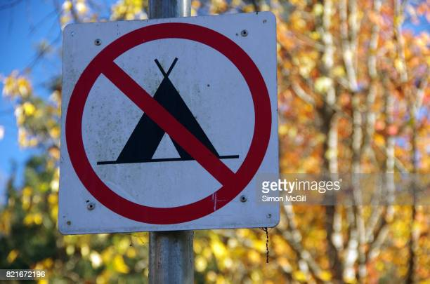 No camping allowed sign in a public park in Bright, Victoria, Australia