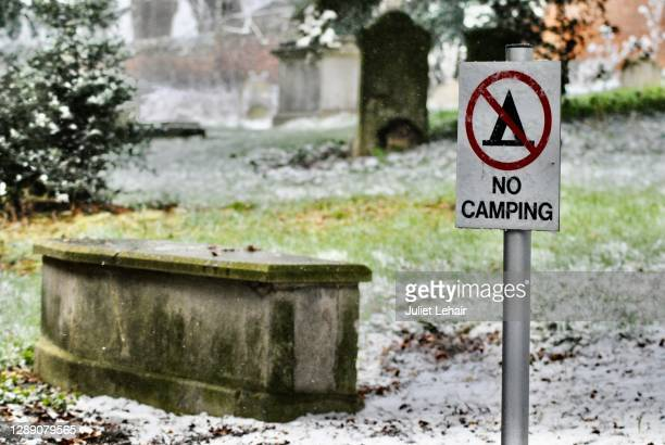 no camping- in the graveyard, in the snow. - sign stock pictures, royalty-free photos & images