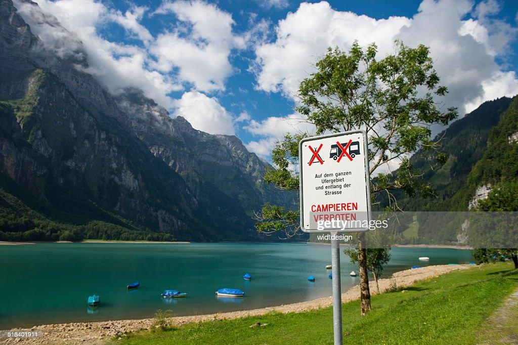 No Camping Sign At The Klöntalersee Swiss Alp Lake Stock Photo