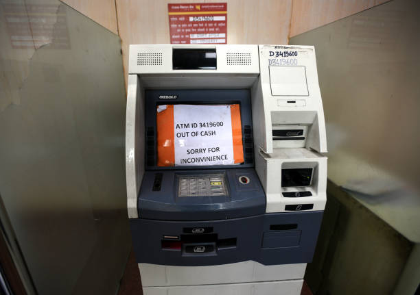 No cash in Punjab National Bank ATM at Connaught Place on April 17 2018 in New Delhi India Reports of a cash crunch in several states including Delhi.