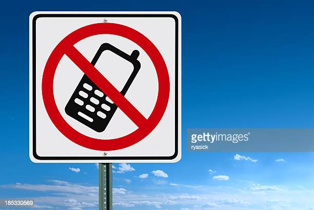 no cell phone sign - forbidden stock pictures, royalty-free photos & images