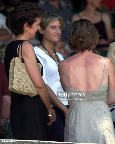 No commercial use Lucy Heald girlfriend of Tim Henman watches him in action during his match against Frenchman Sebastien Grosjean at the 1999...