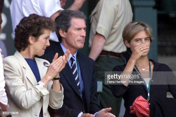No Commercial Use Tim Henman's parents Jane and Tony and his girlfriend Lucy Heald watch him in action during his semifinal match against Pete...
