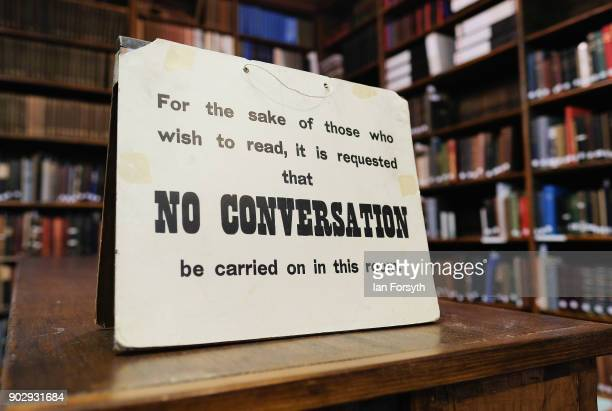 No Conversation sign is displayed inside the Leeds Library on January 9 2018 in Leeds England This year sees the 250th anniversary of the oldest...