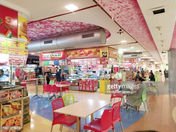 No crowd at Food Court of Raghuleela Mall Kandivali on March 14 2020 in Mumbai India The Delhi government declared coronavirus an epidemic and shut...