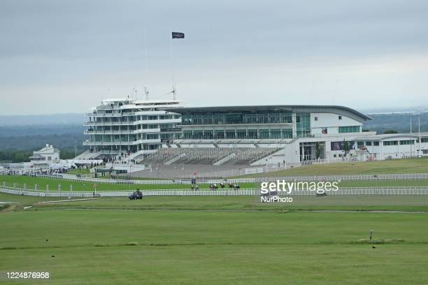 No crowds on Epsom Downs south of London on July 4 2020 to witness the 241st Epsom Derby which was postponed on June 6th and was contested by closed...