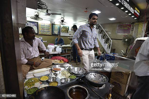 No customer at Famous Parantha Wali Restaurants after shopkeepers are not accepting 500 and 1000 currency notes at Chandni Chowk on November 9 2016...