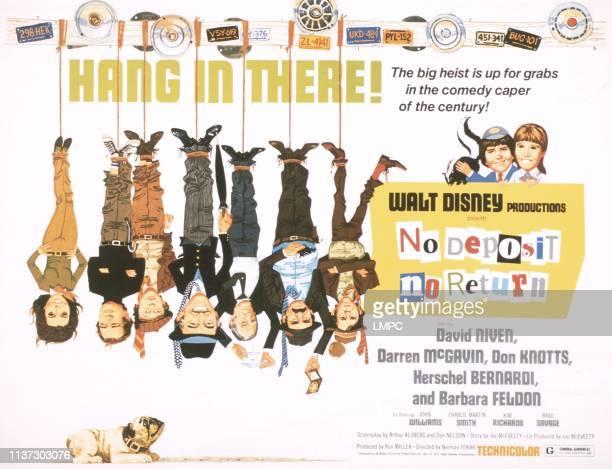 No Deposit, poster, NO RETURN, US poster, from left: Barbara Feldon, Darren McGavin, Don Knotts, David Niven,John Williams, Hershel Bernardi, Charles...