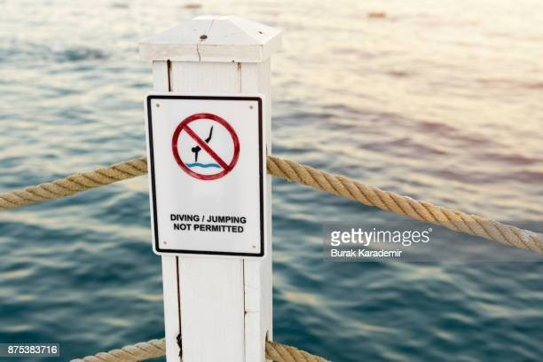 No Diving - sign on Cromer Pier