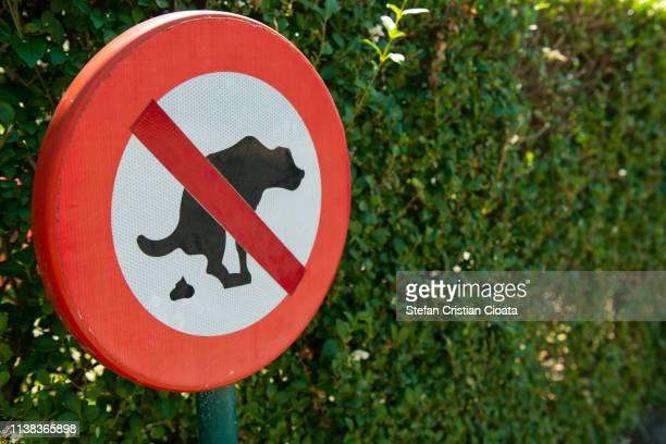 no dog pooping sign in the park. - excremento fotografías e imágenes de stock