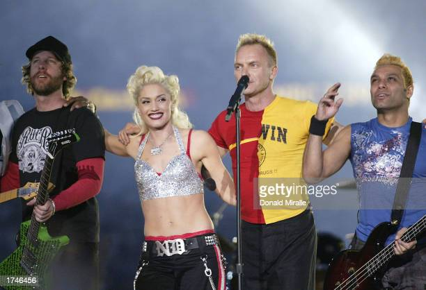 No Doubt and Sting perform during halftime of Super Bowl XXXVII between the Tampa Bay Buccaneers and the Oakland Raiders on January 26 2003 at...