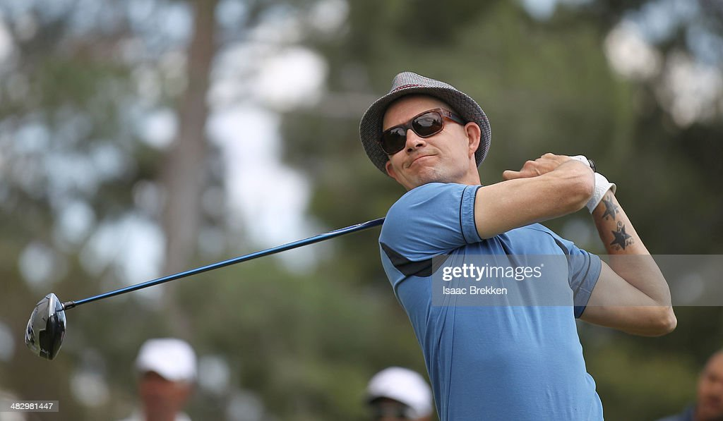 No Doubt drummer Adrian Young hits a tee shot during Aria Resort & Casino's 13th Annual Michael Jordan Celebrity Invitational at Shadow Creek on April 5, 2014 in North Las Vegas, Nevada.