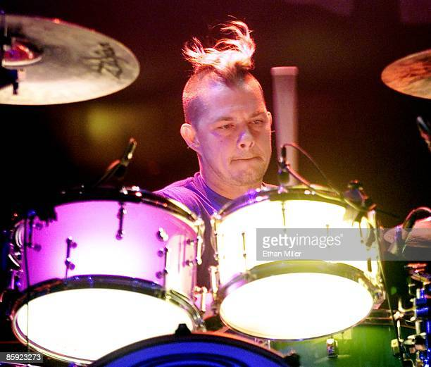 No Doubt drummer Adrian Young performs during a soldout show at The Joint inside the Hard Rock Hotel Casino March 30 2002 in Las Vegas Nevada The...