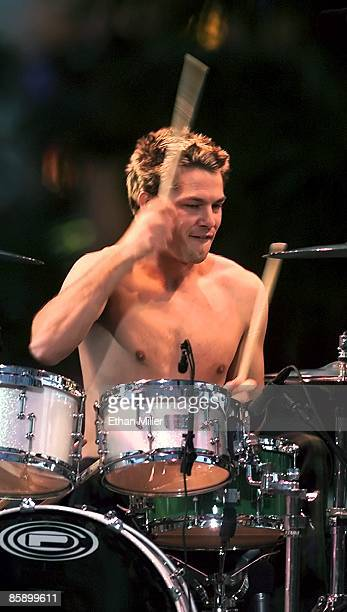 No Doubt drummer Adrian Young performs on MTV's 'Total Request Live' Spring Break show at the Fremont Street Experience March 11 2000 in Las Vegas...