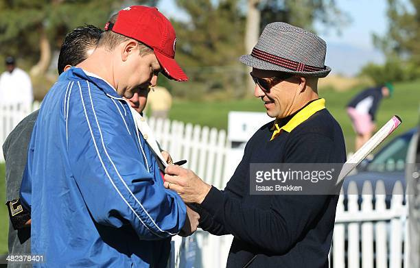 No Doubt drummer Adrian Young signs autographs during ARIA Resort Casino's 13th Annual Michael Jordan Celebrity Invitational at Shadow Creek on April...