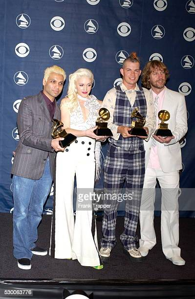 No Doubt in the press room with their award for Best Pop Performance by a Duo or Group With Vocal at the 46th annual Grammy Awards