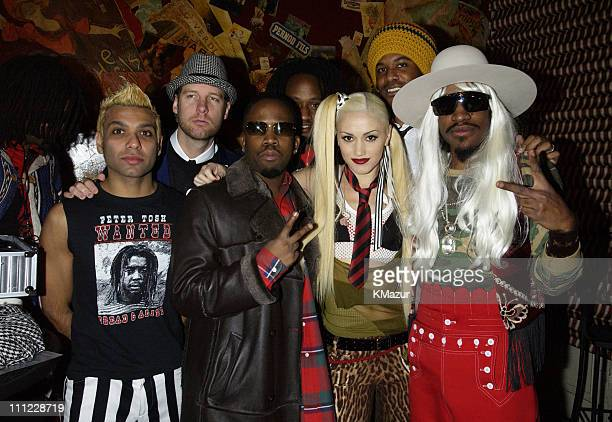 No Doubt with Big Boi and Andre 3000 of OutKast during MTV Mardi Gras 2002 at Jackson Square Park in New Orleans Louisiana United States