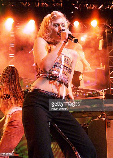 No Doubt's Gwen Stefani performs live on the second night of the KROQ Almost Acoustic Christmas at the Universal Amphitheater in Los Angeles Ca...
