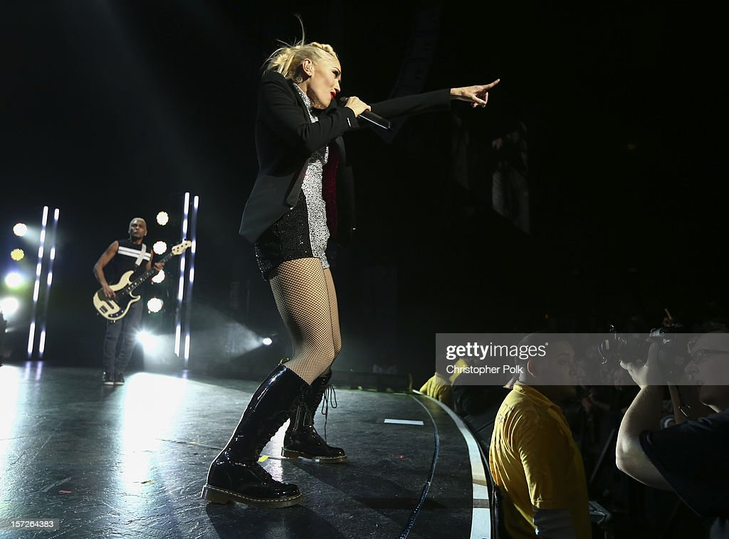 No Doubt's Tony Kanal and Gwen Stefani perform at Gibson Amphitheatre on November 30, 2012 in Universal City, California.