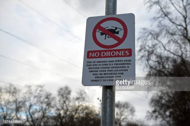 A No Drones sign alerting members of the public that the use of drones or unmanned aerial vehicles is prohibited is pictured outside Manchester...