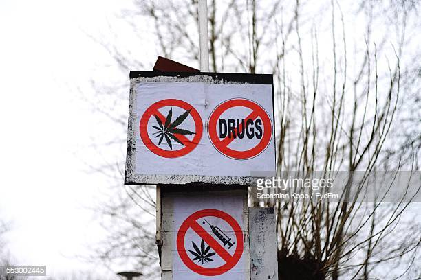 No Drugs Signs On Pole
