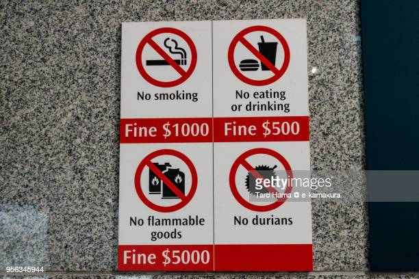 no durian in the subway in singapore - durian stock pictures, royalty-free photos & images