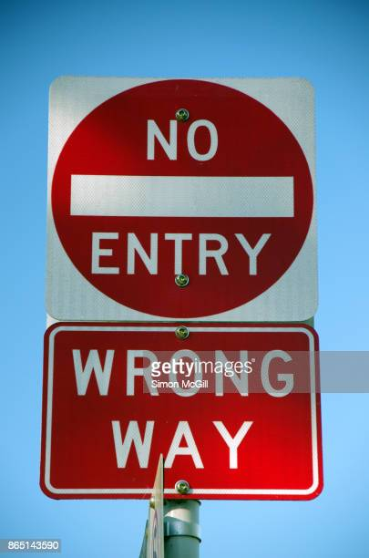 'No Entry' and 'Wrong Way' road signs