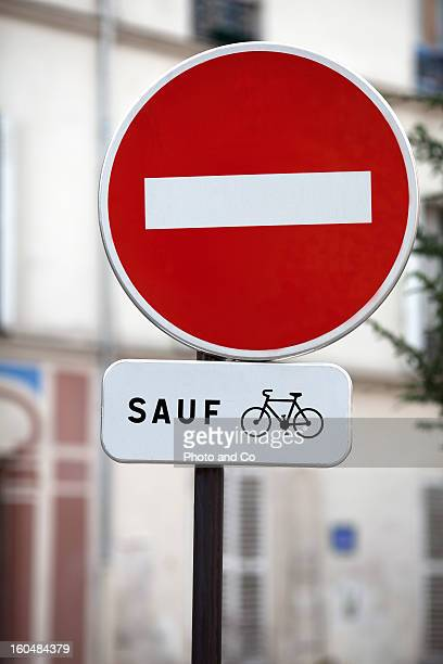 no entry french road sign except bike
