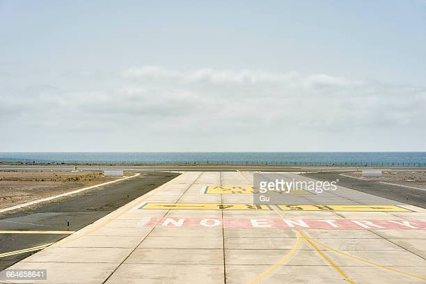 No entry on asphalt at coastal airport, Lanzarote, Spain