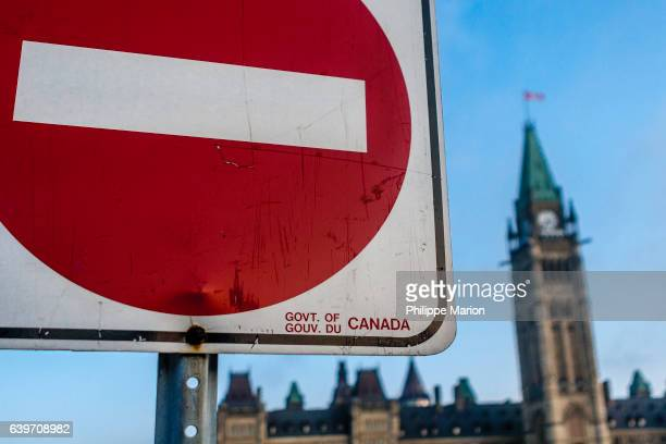 'No Entry' sign and Peace Tower on Parliament Hill - Ottawa, Canada