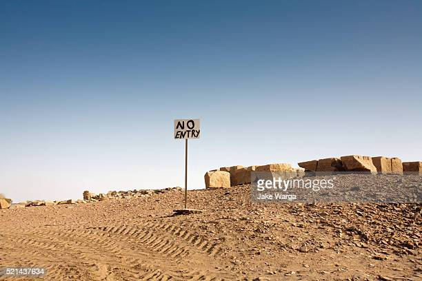 no entry sign, archeology project, luxor, egypt - jake warga stock pictures, royalty-free photos & images