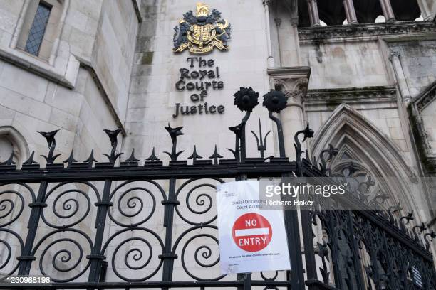 No Entry sign has been placed on the railings outside the Royal Courts of Justice outside the Royal Courts of Justice, during the third lockdown of...