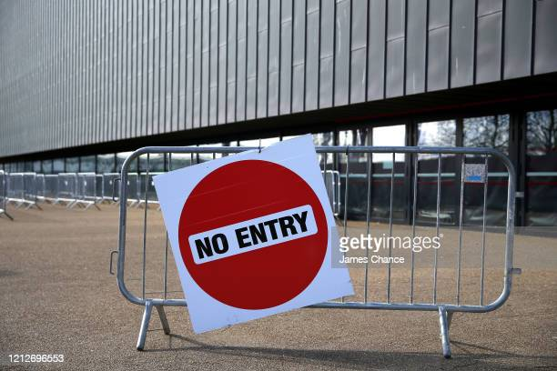No entry sign is seen outside the venue as the event is placed behind closed doors due to the Coronavirus Covid-19 pandemic on Day Three of the Road...