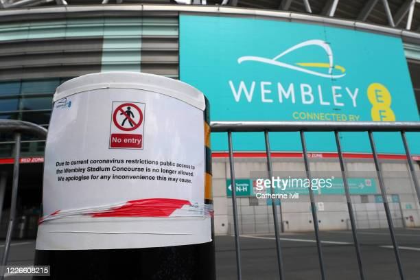 A no entry sign outside Wembley stadium on what should have been FA Cup Final day on May 23 2020 in London England The British government has started...
