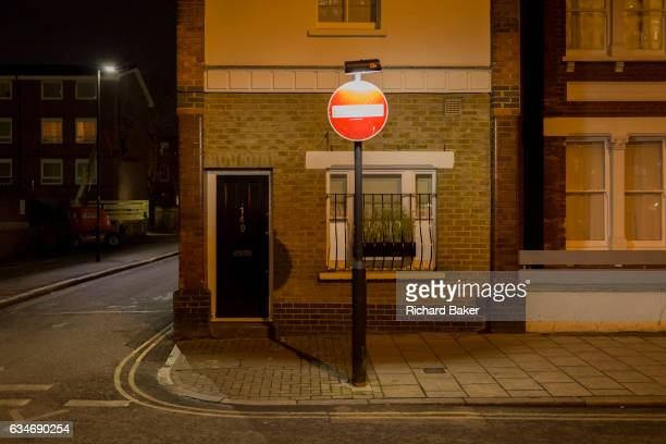 A No Entry sign positioned directly outside a house in the London borough of Lambeth on 7th February 2017 in London England
