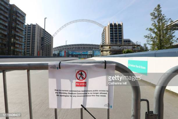 A no entry sign to Wembley Stadium on May 07 2020 in London England The UK is continuing with quarantine measures intended to curb the spread of...