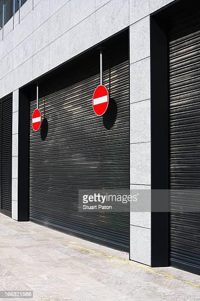 'No entry' signs in front of garage door