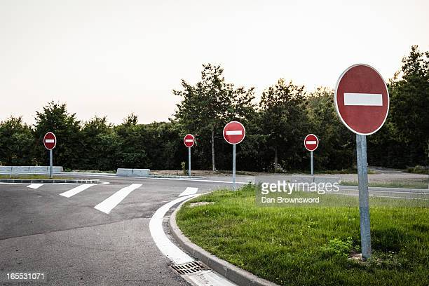 No entry signs on rural road