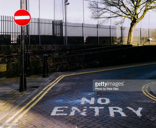 """""""no entry"""" signs on street - exclusion stock pictures, royalty-free photos & images"""