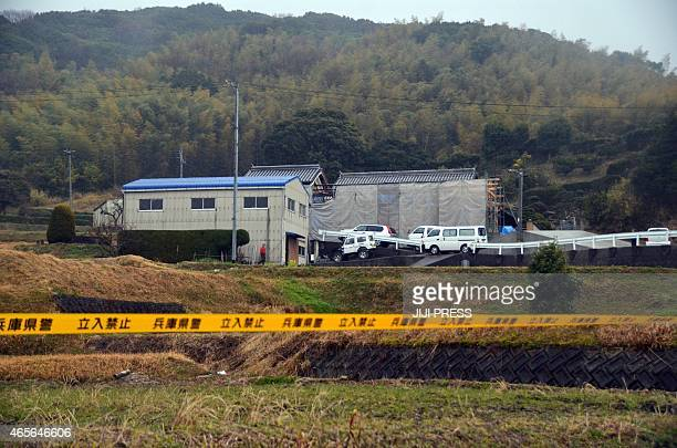 No Entry tape surrounds a site where a man stabbed five people to death at Sumoto city in Awajishima island Hyogo prefecture western Japan on March 9...