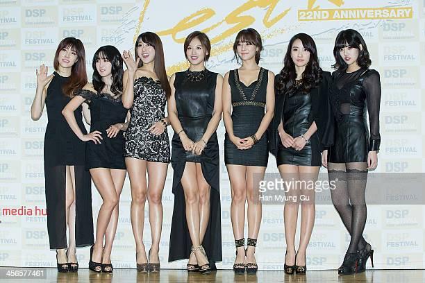 No Eul Cho HyunYoung Oh SeungA Kim JaeKyung Koh WooRi Kim JiSook and Jung YoonHye of South Korean girl group Rainbow attend the DSP Festival concert...