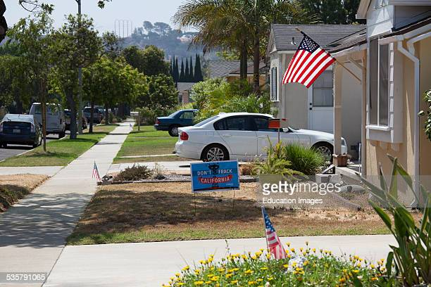 No Fracking signs on front lawns of home in Culver City which is near the Inglewood oil field the largest urban oil field in the United States