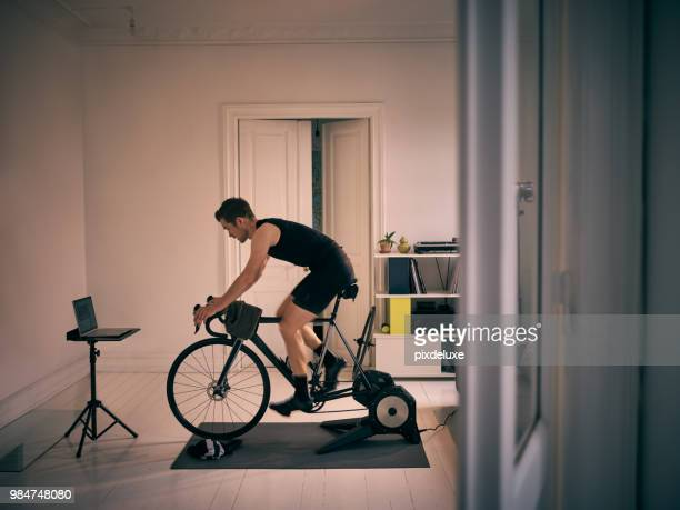 no gym, no problem - peloton stock pictures, royalty-free photos & images