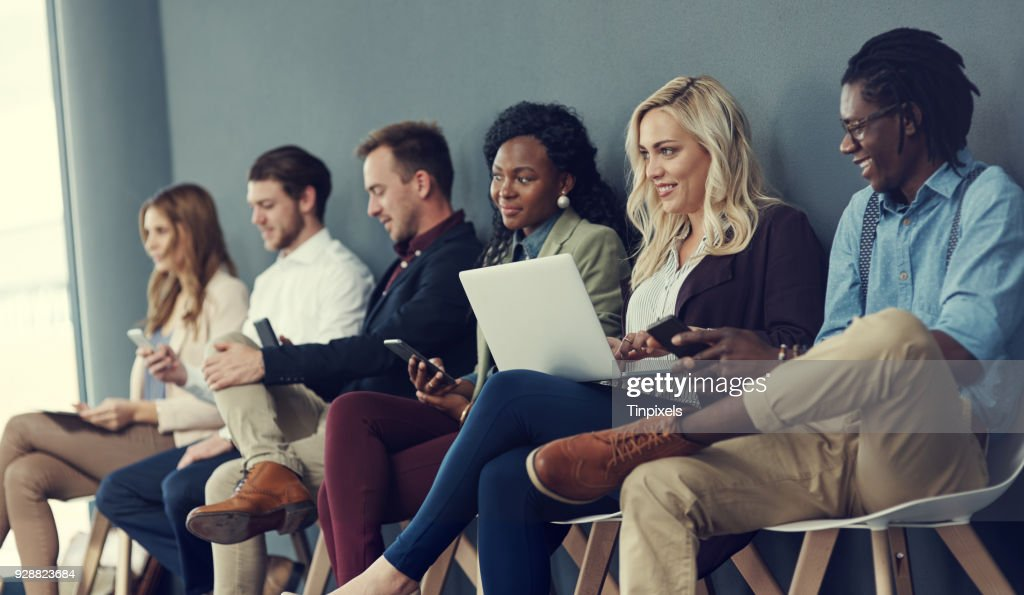 No hesitation, waiting in line with determination : Stock Photo