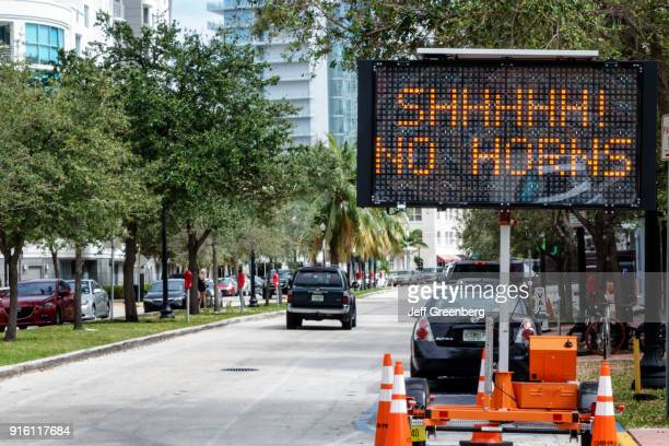 A no horns traffic sign at a quiet zone in Miami Beach