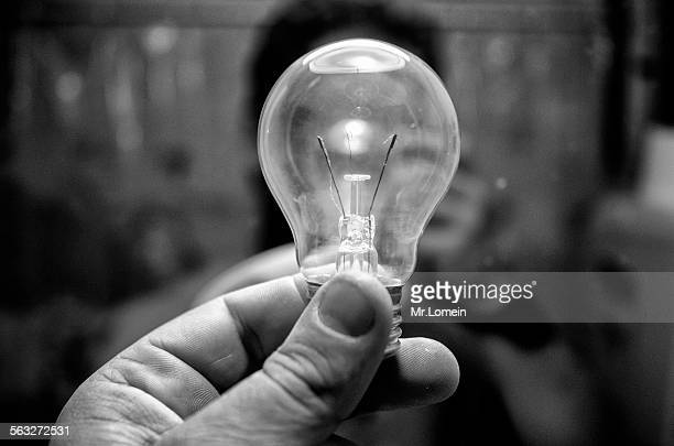 no idea light bulb - black and white instant print stock pictures, royalty-free photos & images