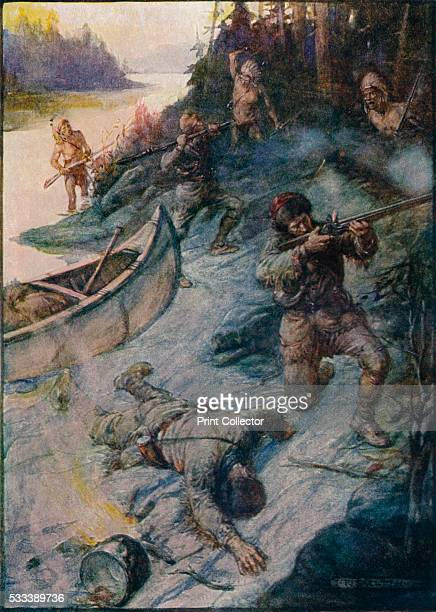 No Man Was Safe No Life Was Safe' from 'Our Empire Story' by HE Marshall c1920 Madeleine de VerchÞres of New France was credited with thwarting a...