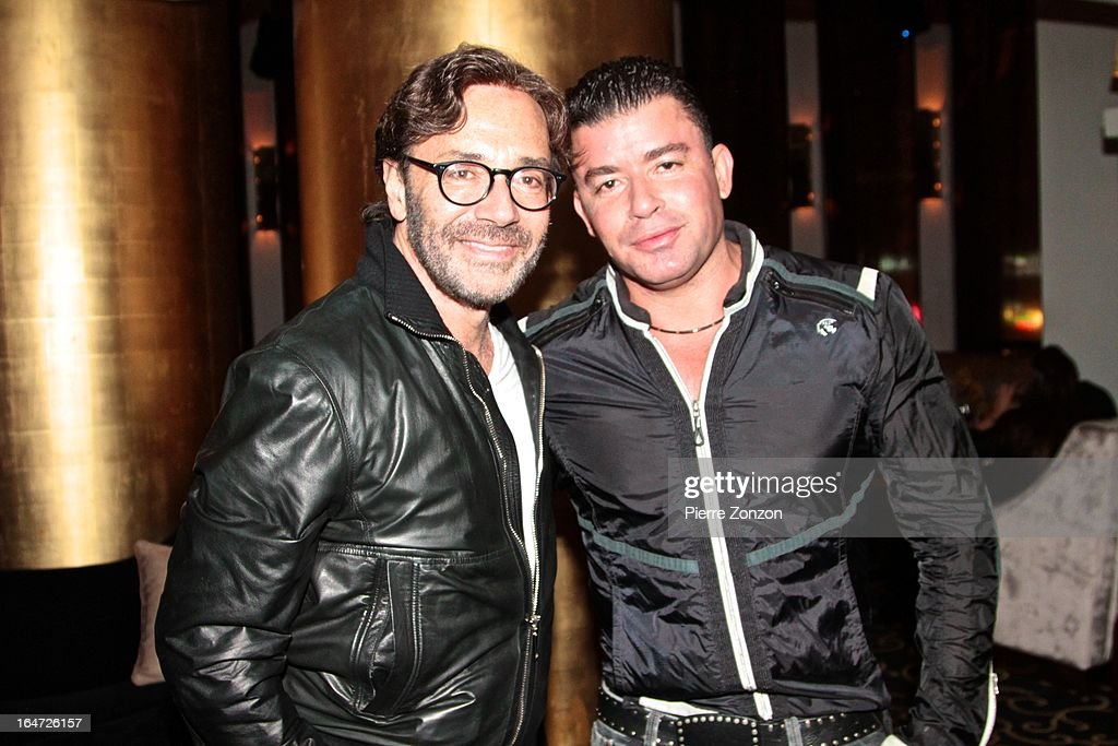 No Mercy Marty Cintron & Jazz Musician Al Di Meola at Dore Restaurant and Lounge on March 27, 2013 in Miami Beach, Florida.